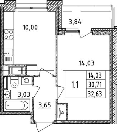 1-к.кв, 30.71 м²