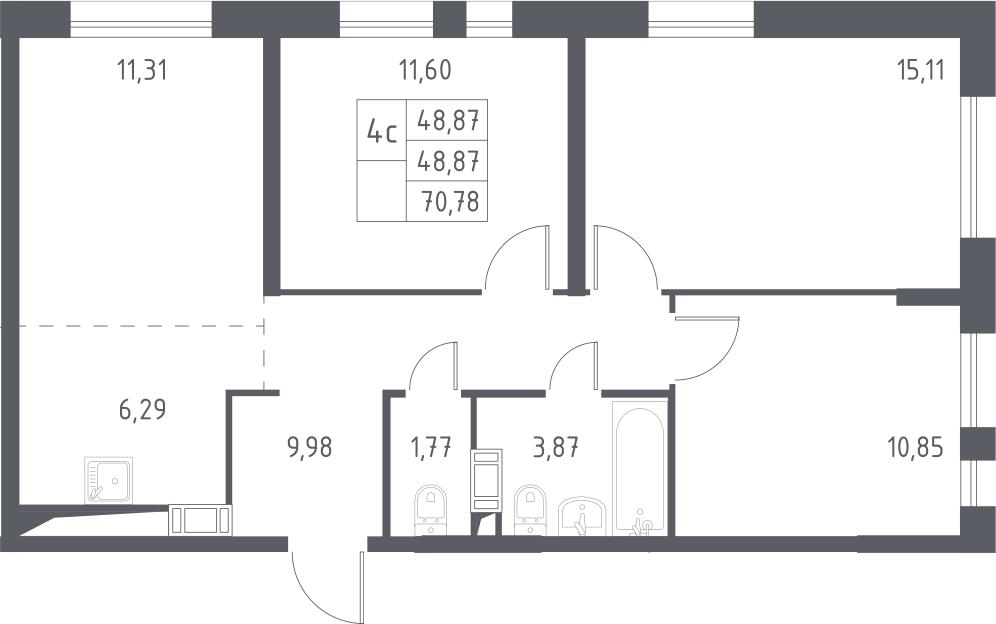 4-к.кв (евро), 70.78 м²