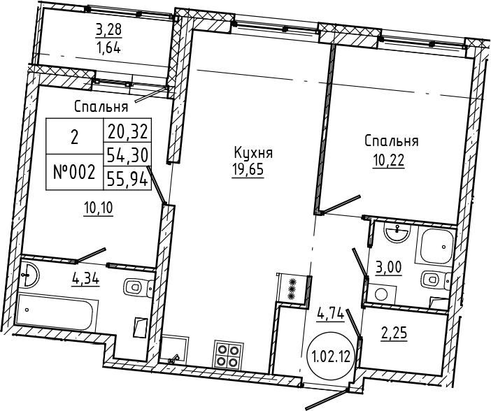 3Е-комнатная, 55.94 м²– 2