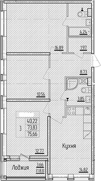3-к.кв, 75.66 м²