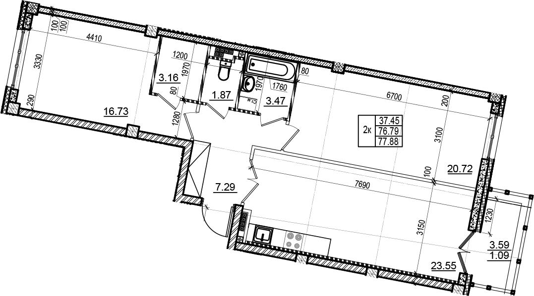 3Е-комнатная, 77.88 м²– 2