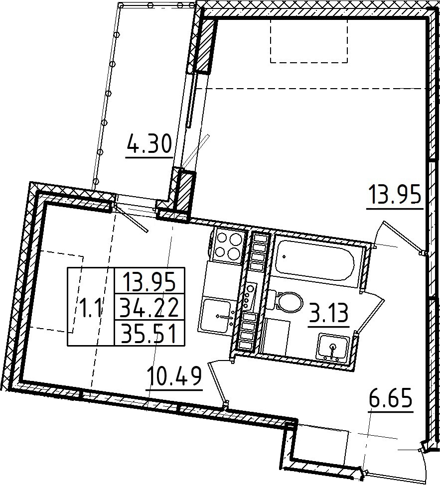 1-к.кв, 35.51 м², 5 этаж