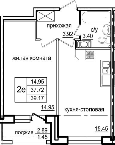 2Е-к.кв, 39.17 м², 3 этаж