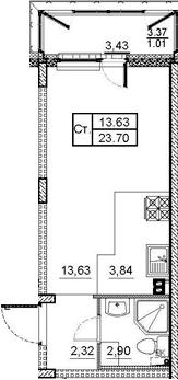 Студия, 23.7 м²– 2