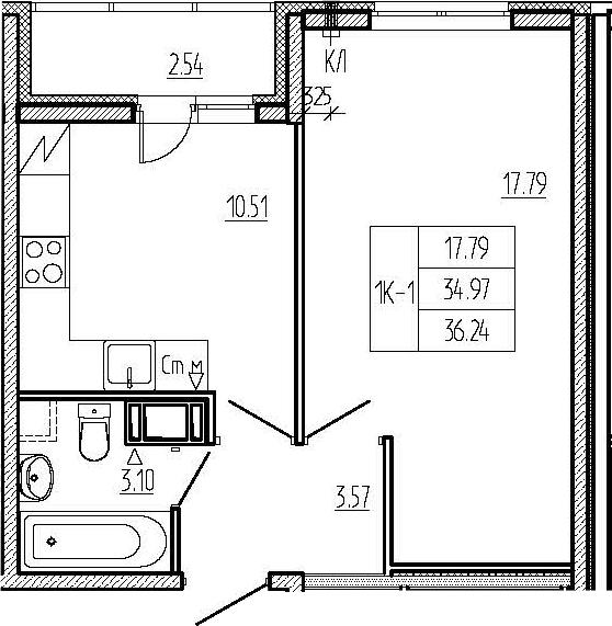 1-комнатная квартира, 34.97 м², 7 этаж – Планировка