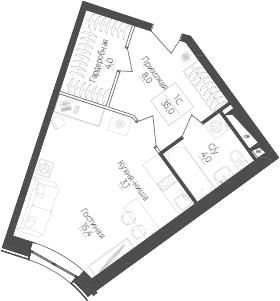Студия, 35 м²– 2