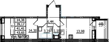 1-комнатная, 39.17 м²– 2