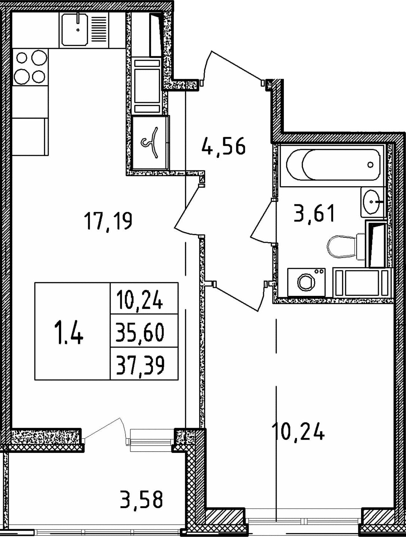 2Е-комнатная, 37.39 м²– 2
