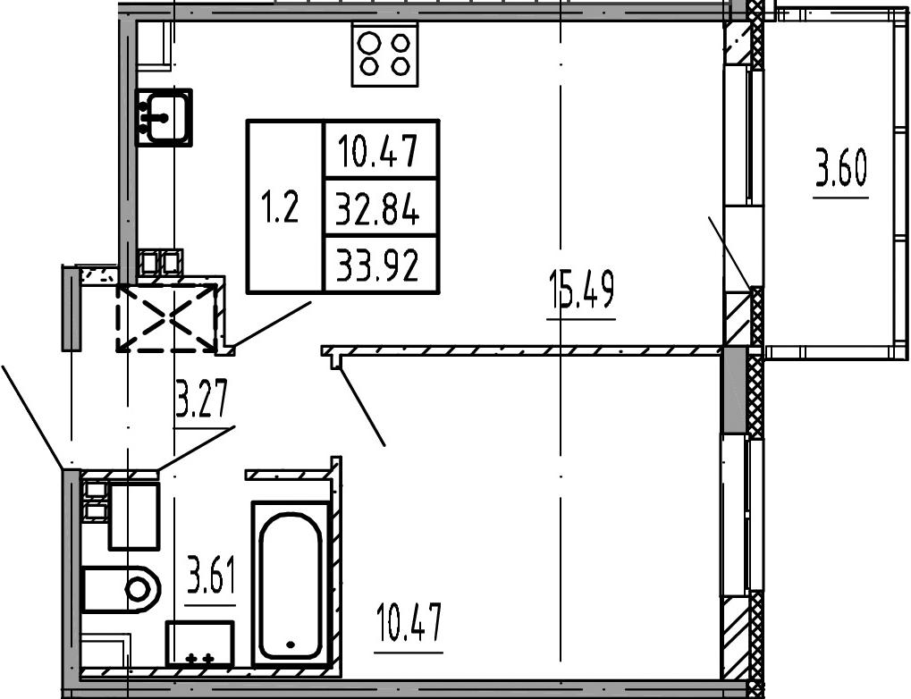 2Е-к.кв, 32.84 м², 3 этаж