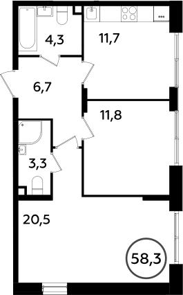 2-комнатная, 58.3 м²– 2