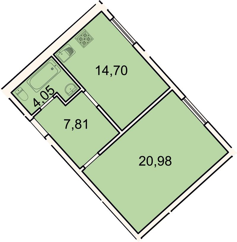 1-к.кв, 47.5 м², 1 этаж