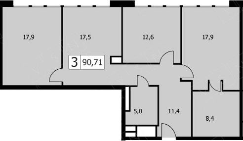 4-к.кв (евро), 88.9 м²
