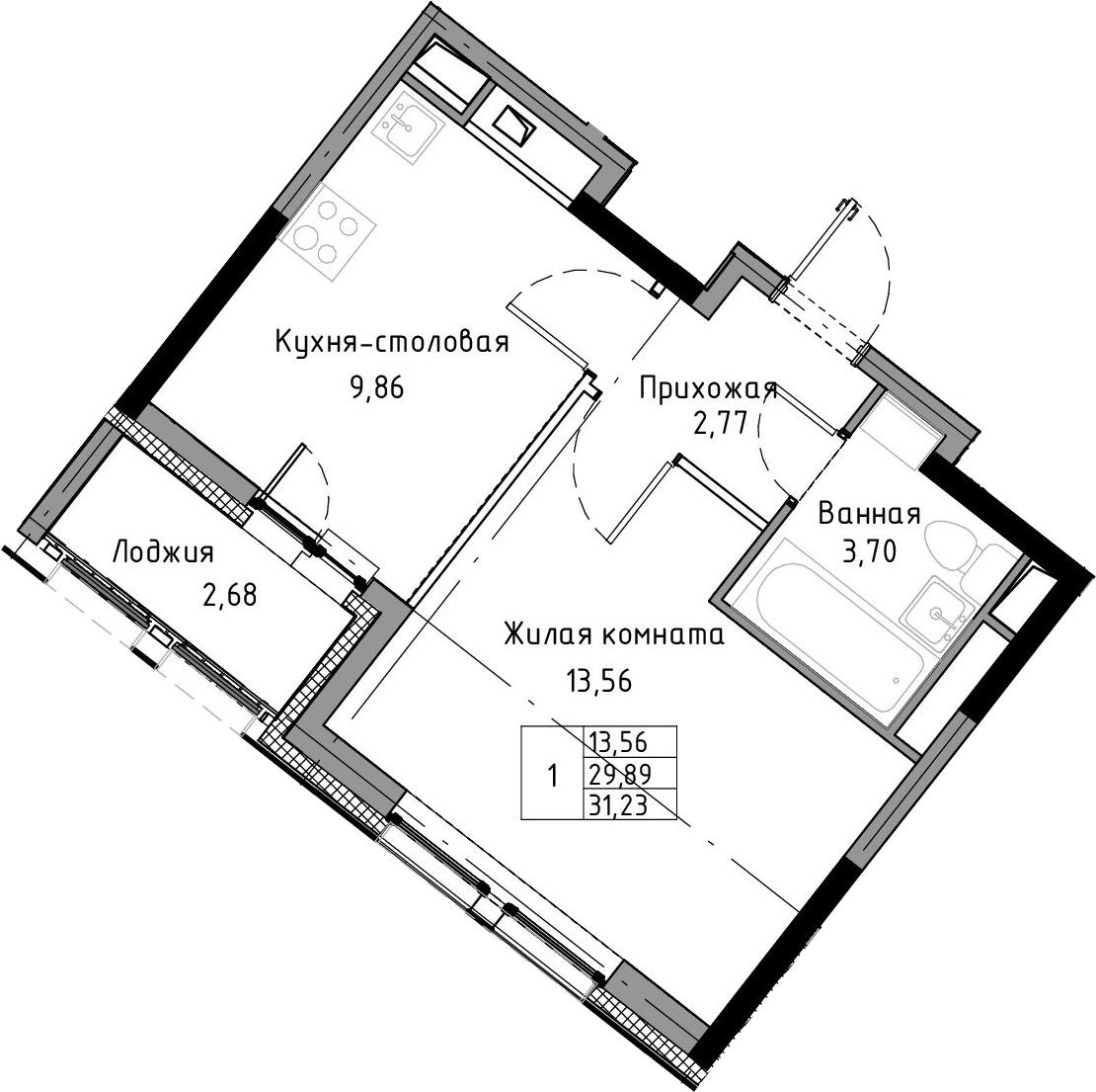 1-к.кв, 31.23 м², 11 этаж