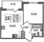 2Е-к.кв, 31 м², 2 этаж