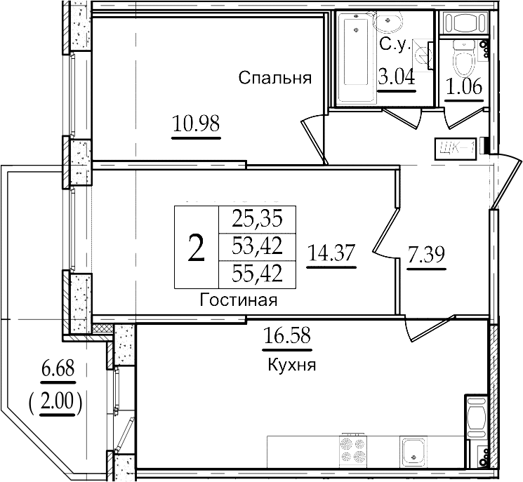 3Е-к.кв, 55.42 м²