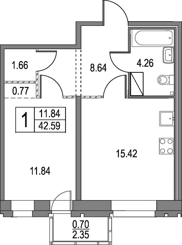 2Е-к.кв, 42.59 м²