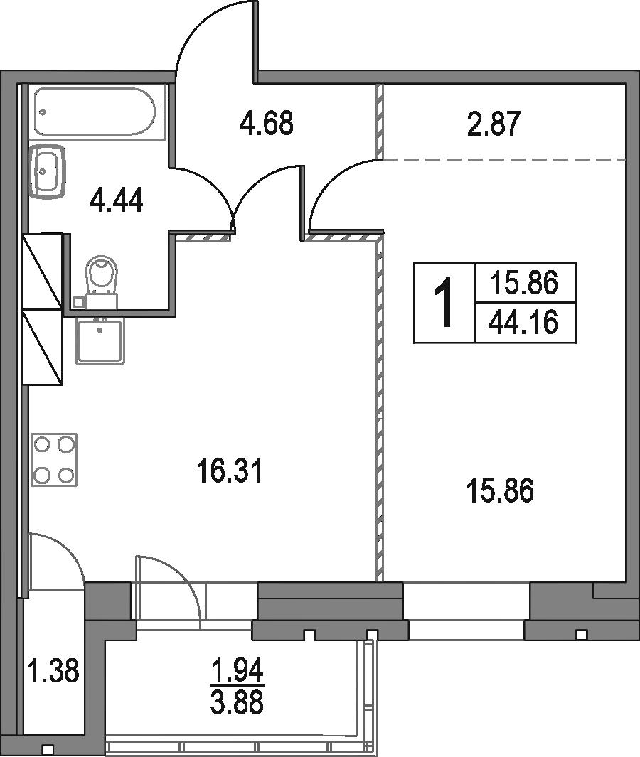 2Е-к.кв, 44.16 м², от 18 этажа