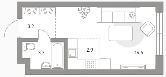 Студия, 23.9 м²