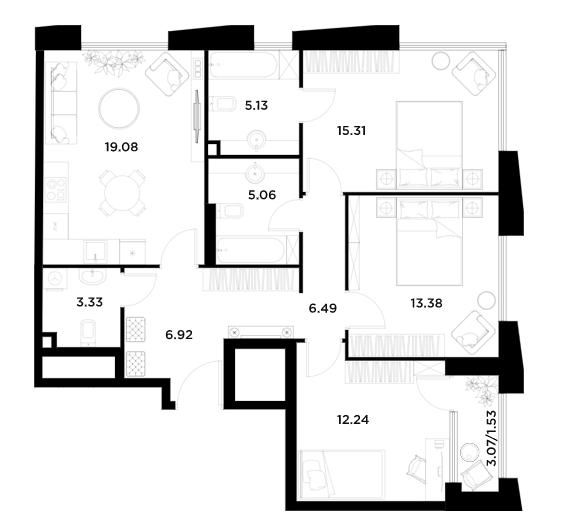 4Е-к.кв, 88.48 м²