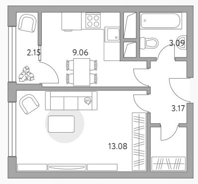 1-к.кв, 32.49 м²