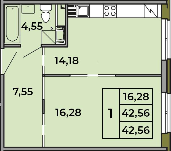 1-комнатная, 42.56 м²– 2