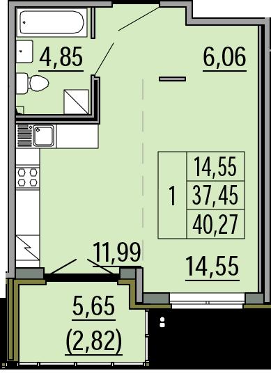 Студия, 40.27 м²– 2