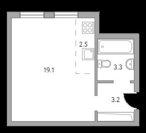 Студия, 28.1 м²