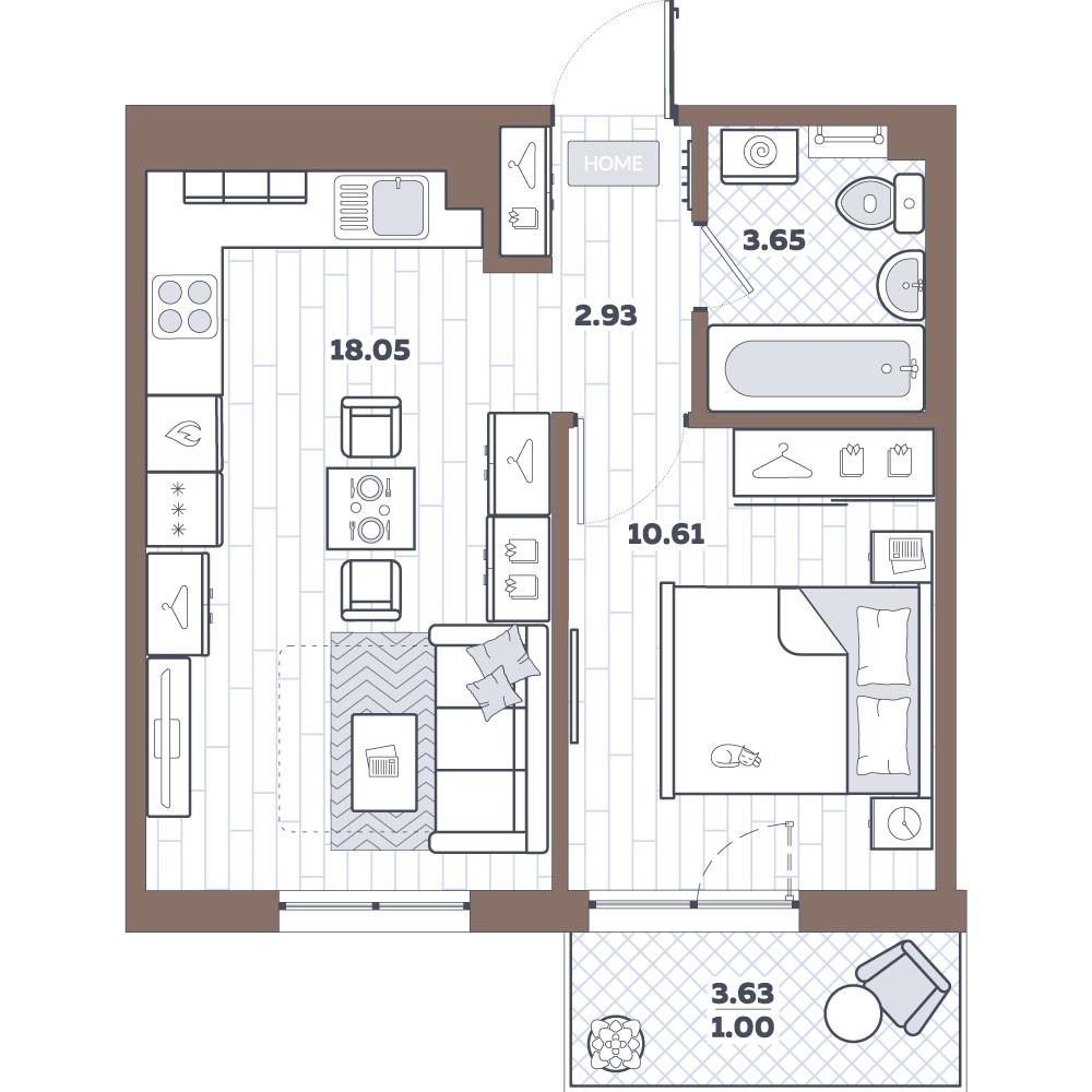 2Е-комнатная, 36.25 м²– 2