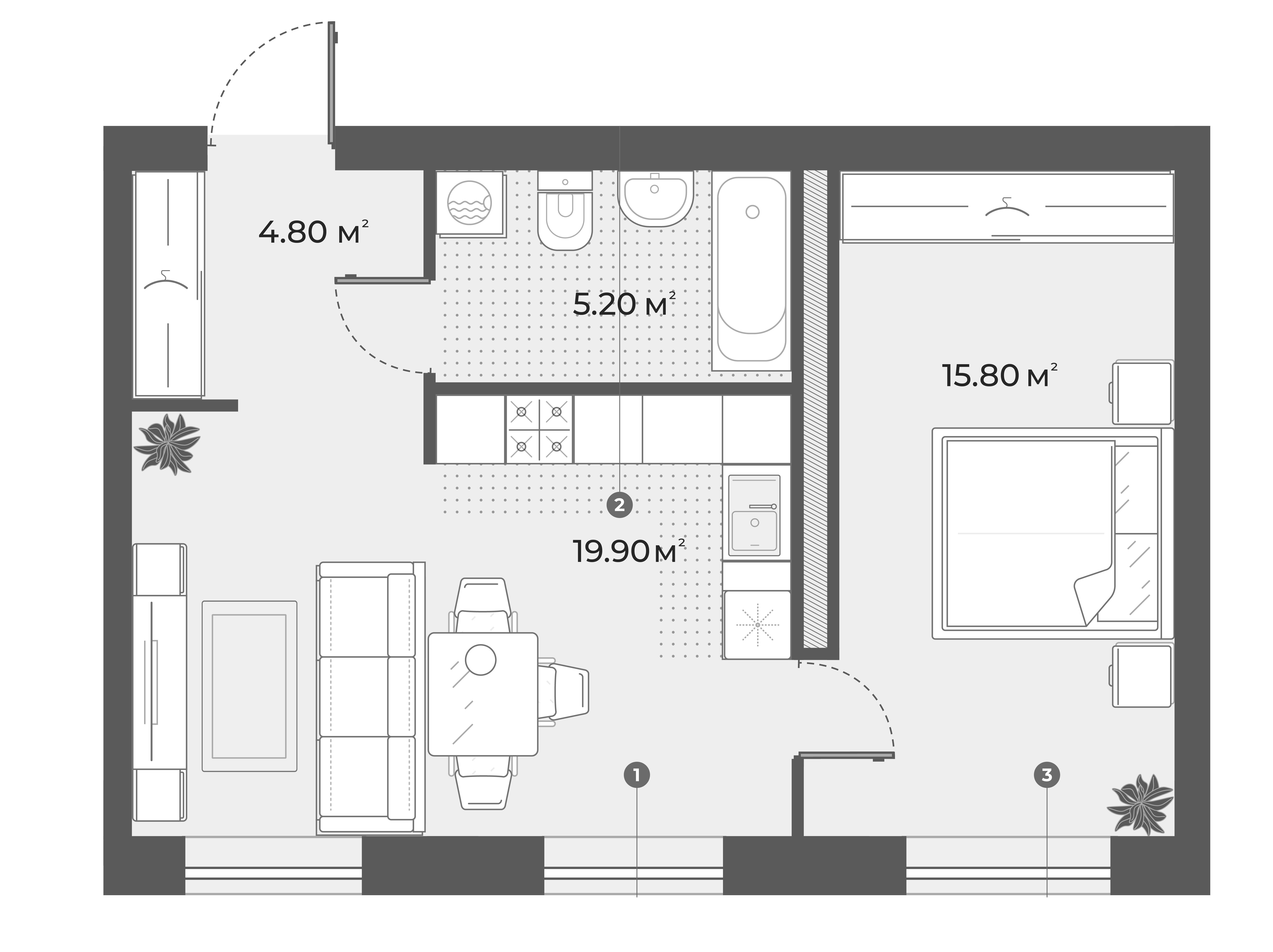 2Е-к.кв, 45.7 м², 5 этаж