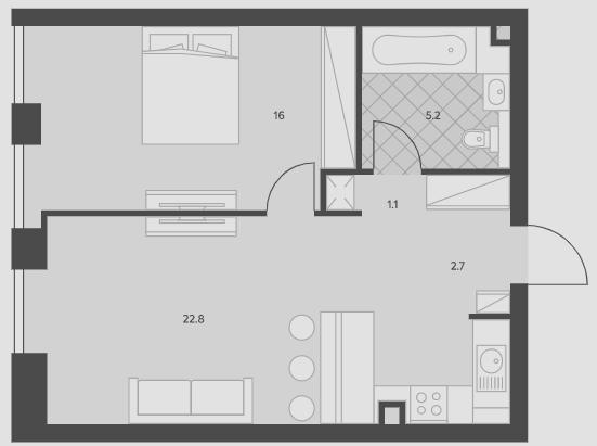 2Е-комнатная, 47.8 м²– 2