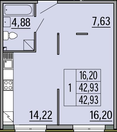 1-к.кв, 42.93 м²