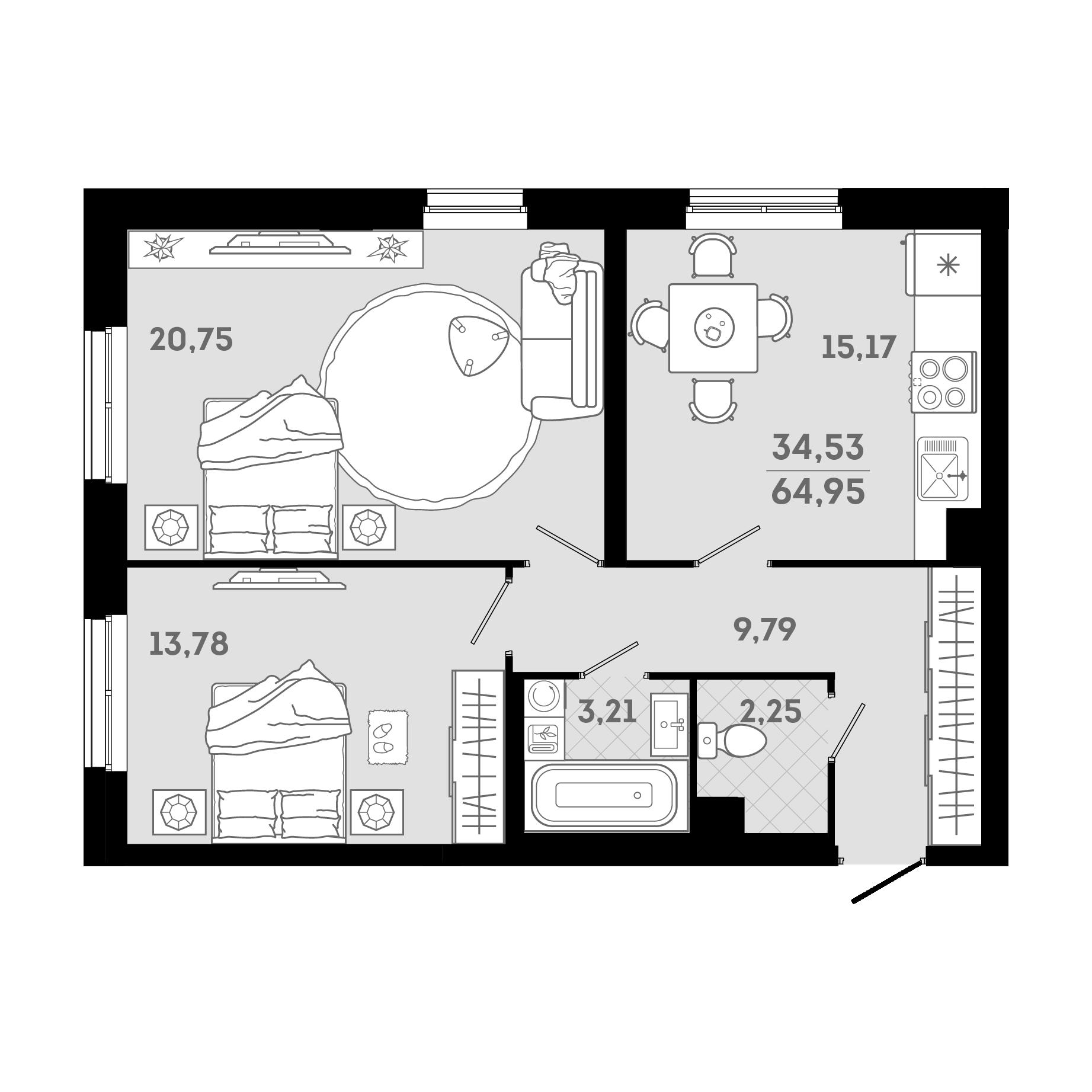 3Е-к.кв, 64.95 м²