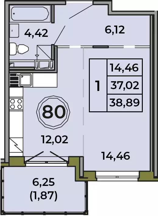 Студия, 37.02 м²– 2