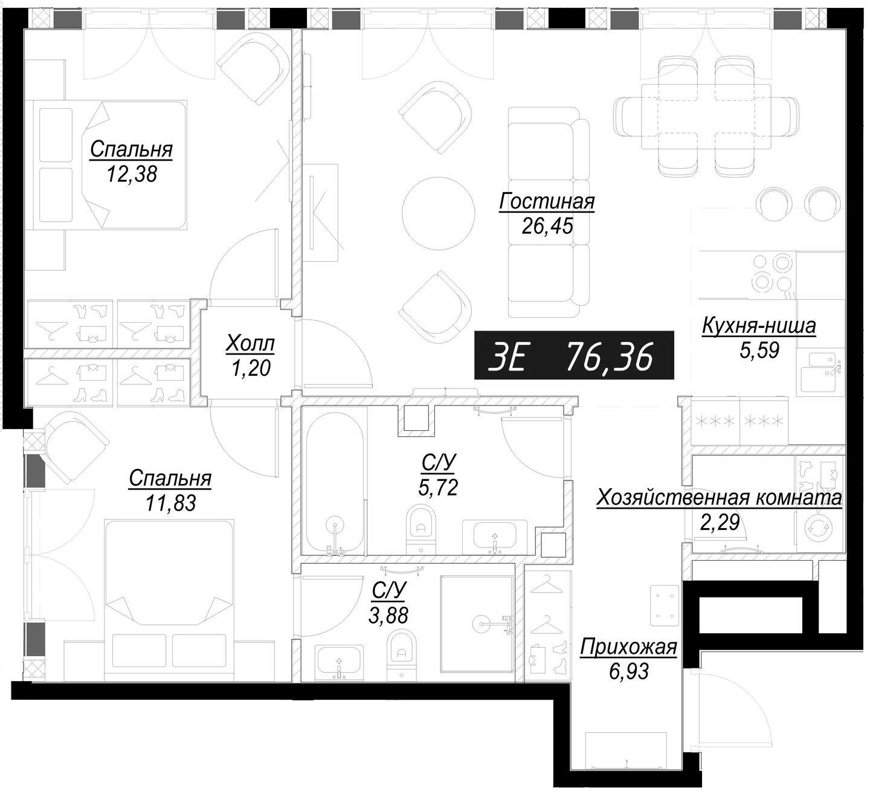 3Е-комнатная, 76.36 м²– 2