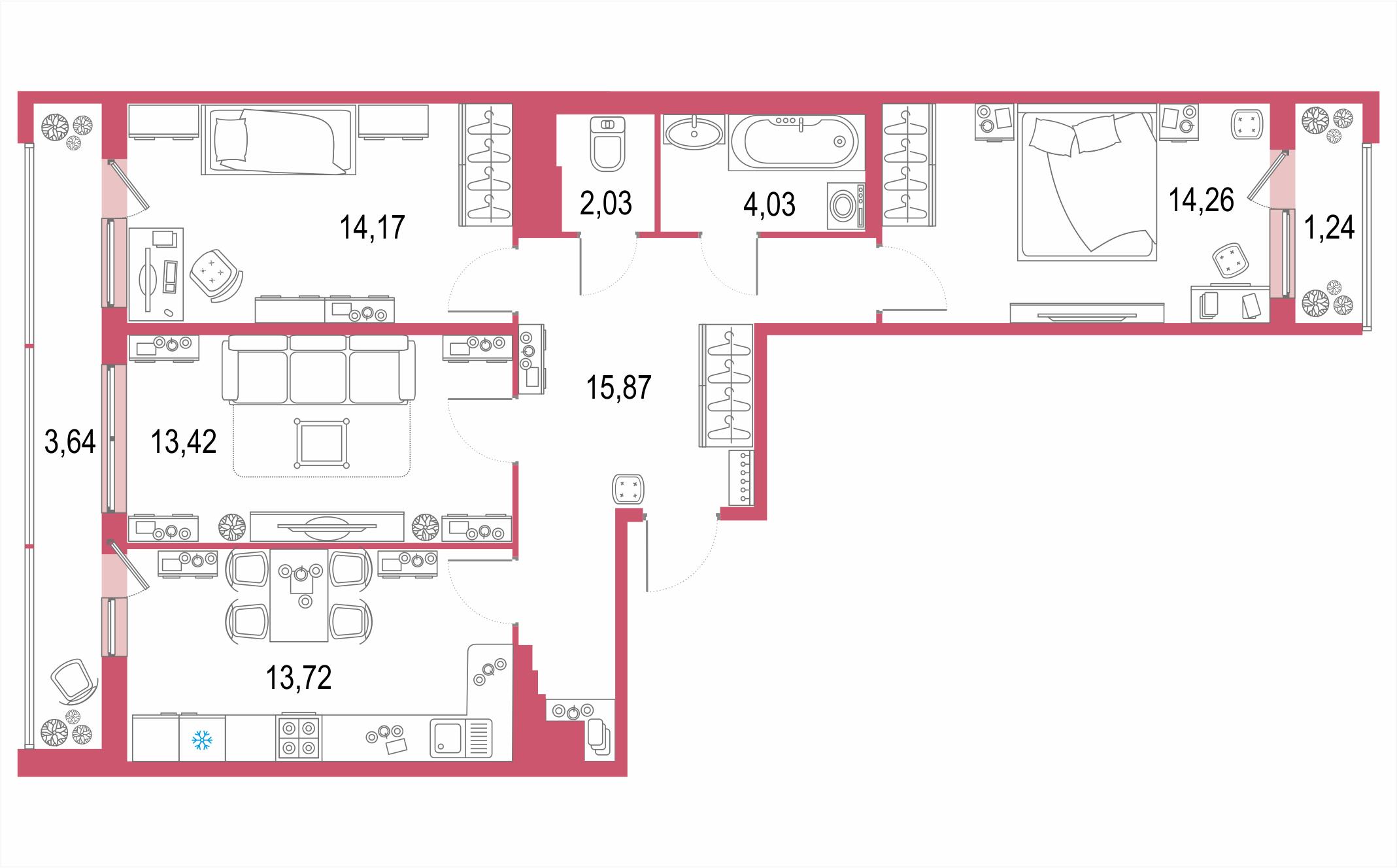 3-комнатная, 82.38 м²– 2