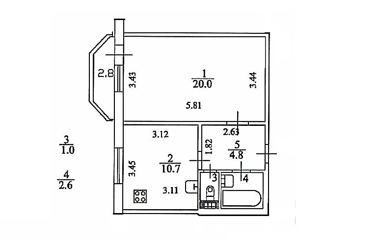 1-к.кв, 41.9 м²
