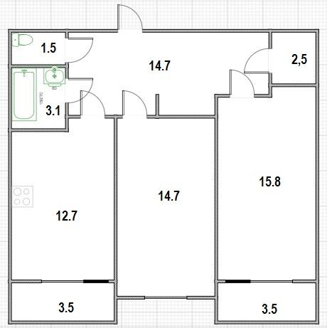 2-к.кв, 72 м²