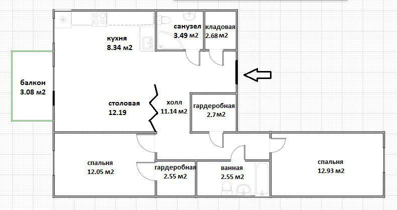 2-к.кв, 56.65 м²