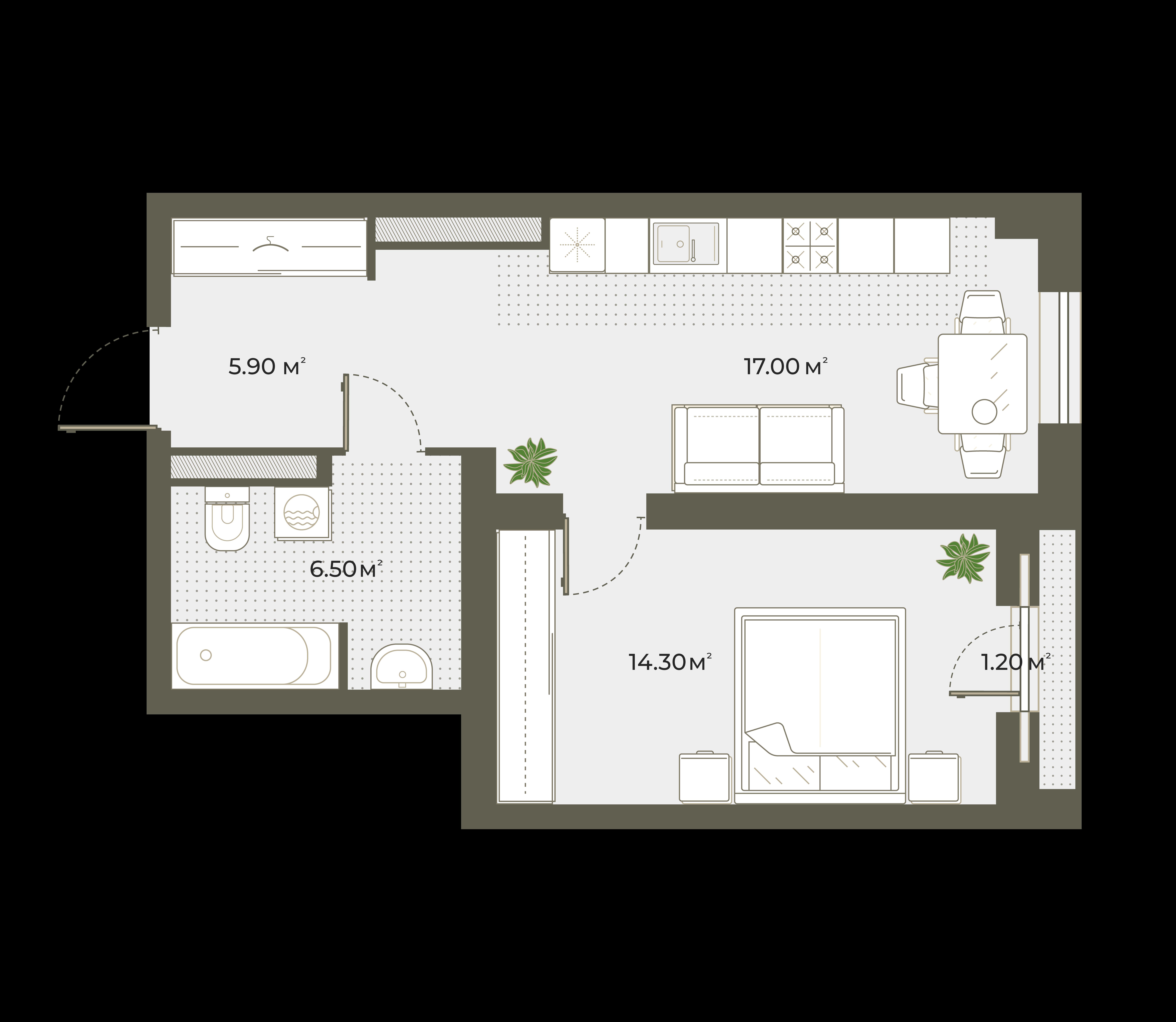 2Е-к.кв, 44.3 м², 4 этаж
