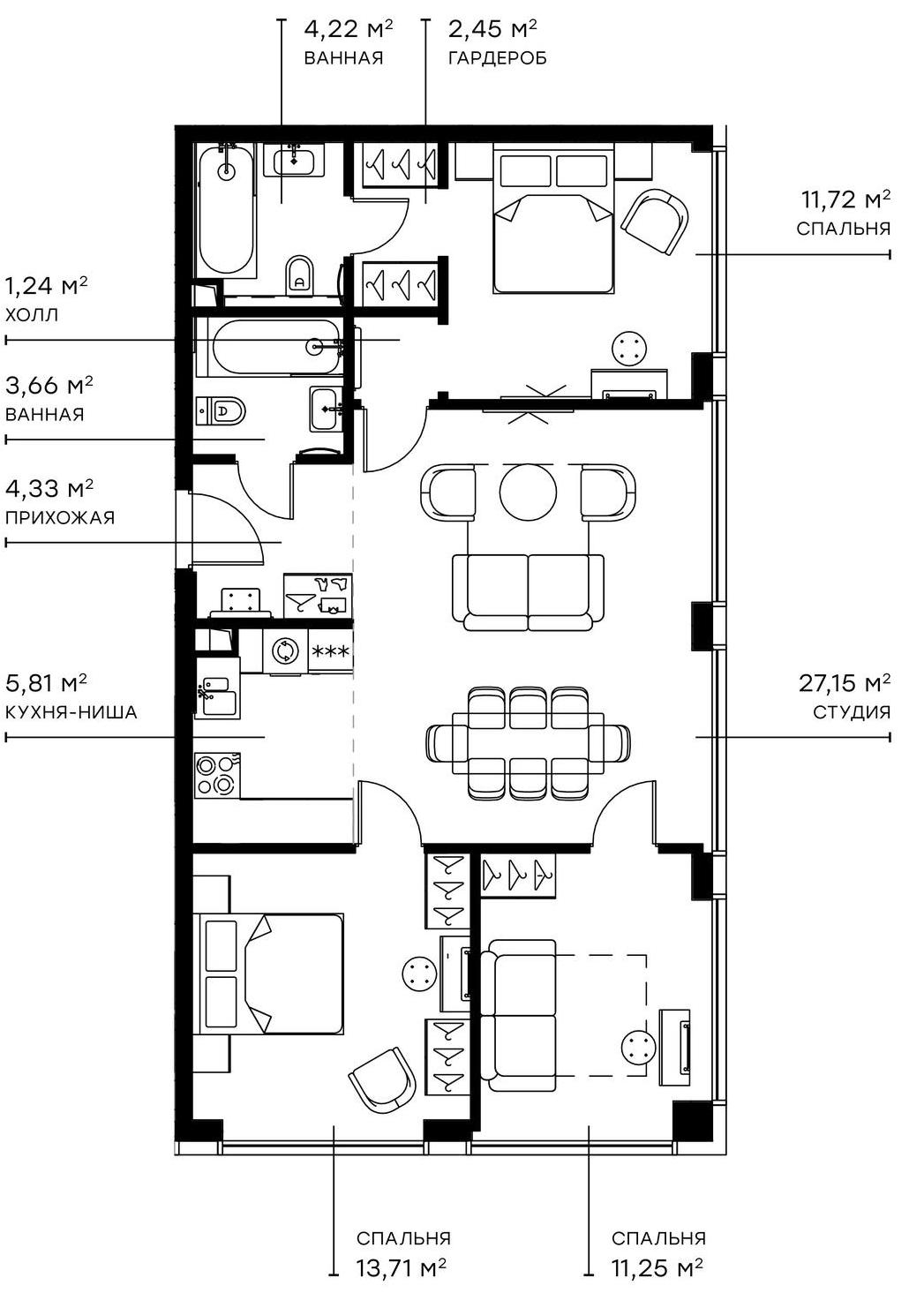 4Е-комнатная, 85.54 м²– 2
