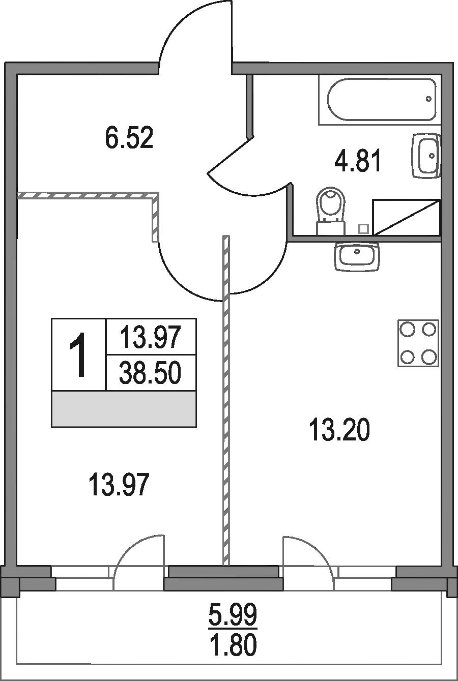 1-к.кв, 38.5 м², от 3 этажа