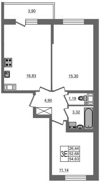 3-к.кв (евро), 56.58 м²