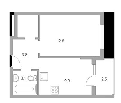 1-комнатная, 34.7 м²– 2