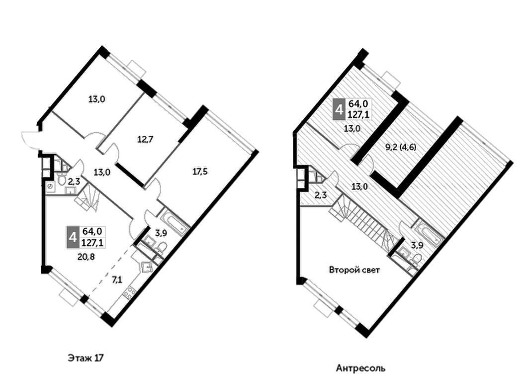 5Е-комнатная, 127.1 м²– 2