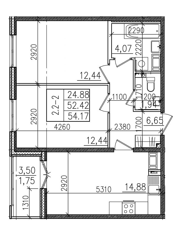 2-к.кв, 54.17 м²