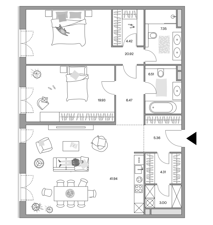 3Е-к.кв, 119.49 м²