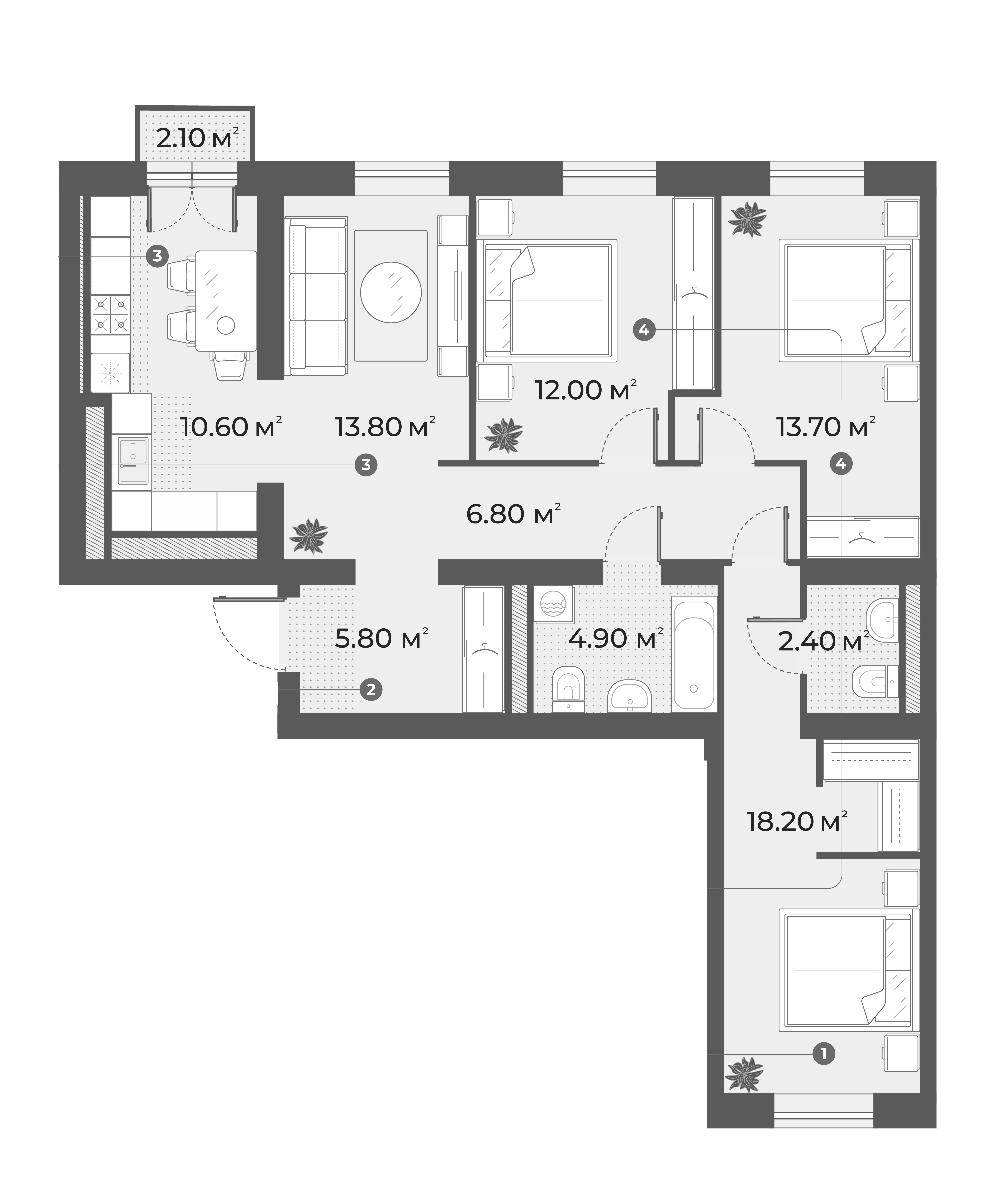 4-к.кв, 88.2 м², 5 этаж