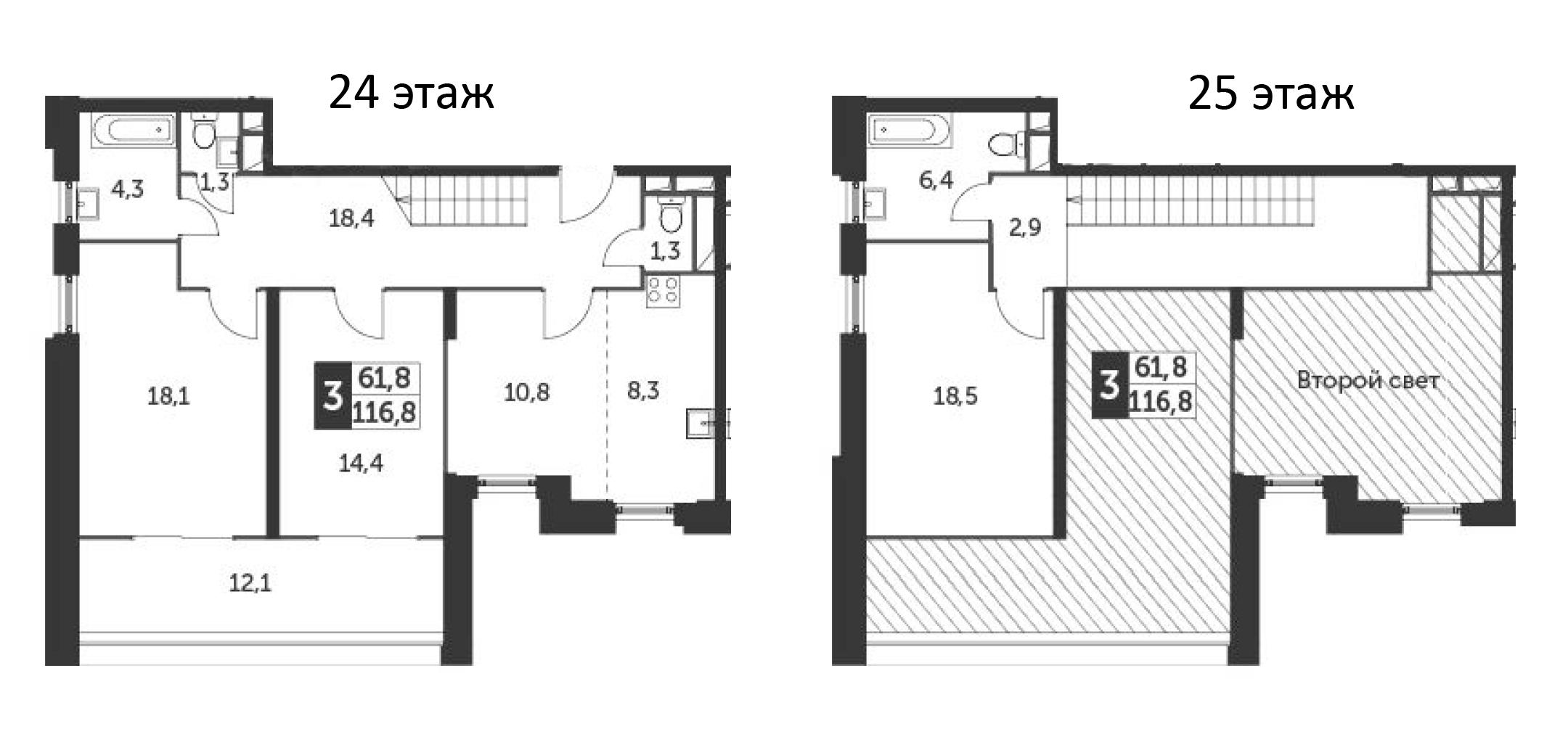 4Е-комнатная квартира, 116.8 м², 24 этаж – Планировка