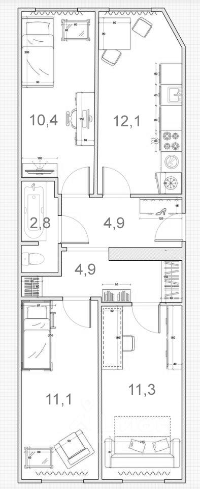 3-к.кв, 57.5 м²