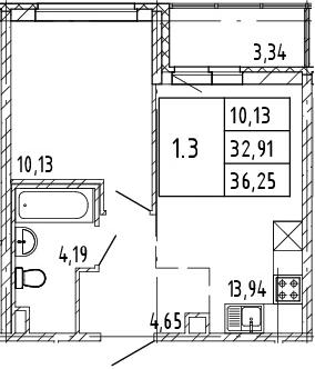 2Е-к.кв, 32.91 м², 2 этаж